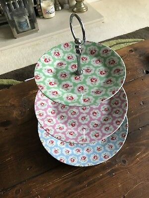 Cath Kidston Provence Rose 3 tier china cake stand. Very Good condition.