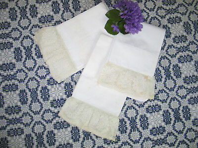 Beautiful Set of 3 Antique Vintage Delicate NEEDLE LACE PillowCases