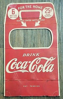 1930's Coca-Cola 6 Pack 25 Cent Bottle Cardboard Carrier Advertising