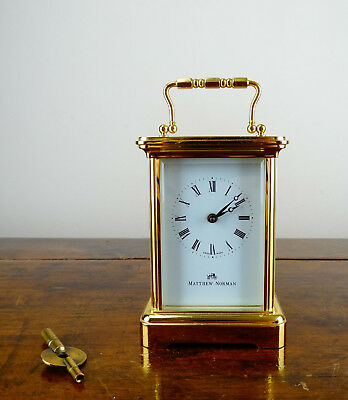 Matthew Norman Brass Carriage Clock Swiss 11 Jewels 8 Day with Key