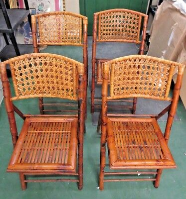 Four Bamboo, Wicker and Rattan Folding Chairs