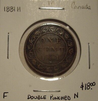 Canada Victoria 1881H Double Punched N Large Cent - F