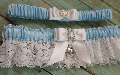 PLUS SIZE Something Blue Wedding Garter Set With Key To My Heart Charm US SELLER