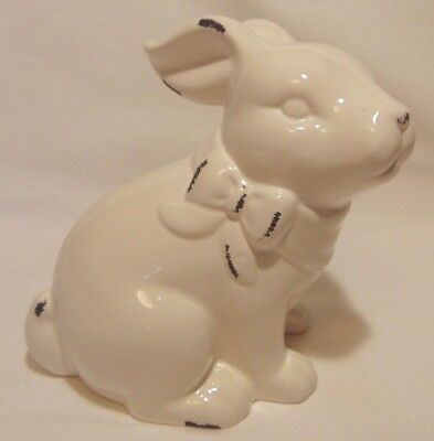 Shabby Chic Rabbit Ceramic White Bunny Distressed French Country Figure Cottage