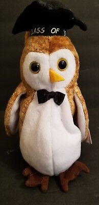 2000 Ty Beanie Babies Collection WISEST Brown Graduation Owl w/Tags (8 inch)