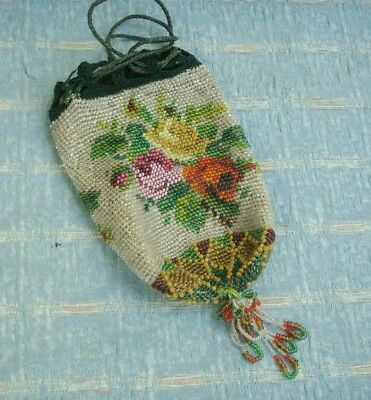 Old Antique Victorian Draw String Bead Work Draw Purse Hand bag Floral Vintage