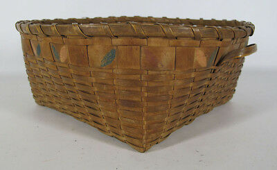 Antique 19th C Native American Maine Potato Stamped Splint Gathering Basket yqz