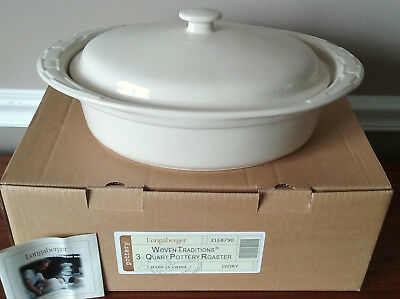 Longaberger Woven Traditions Pottery 3 Quart Covered Roaster New Rare