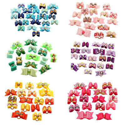 Assorted Hair Bows With Rhinestone For Small Dog Cat Pet Puppy Topknot Grooming