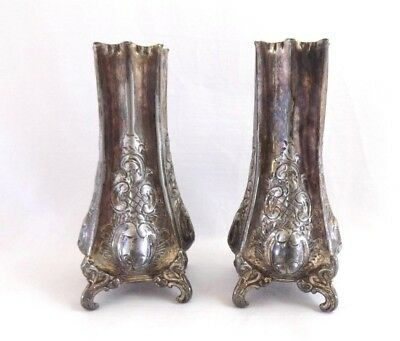 """Antique Silver Plate Pewter Vases Lee & Wigfull Sheffield Late 19th century 5.5"""""""