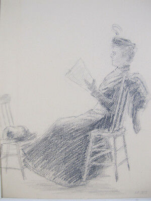 Antique ORIG 1892 Illustration Art Lady Reading Paper in Graphite Signed SB  yqz