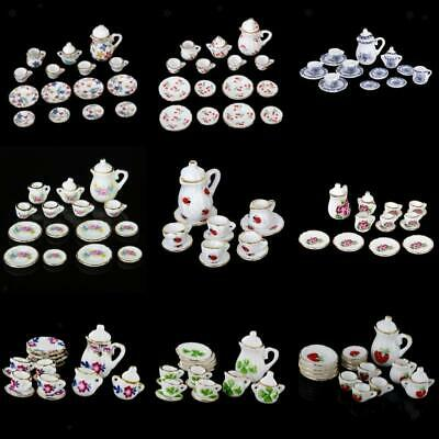 1/12 Exquisite Floral China Ceramic Tea Coffee Set Dollhouse Miniature Accessory