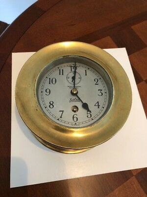 Vintage Rare SESTREL Brown (Canada) Ships Brass Nautical Maritime Clock Working