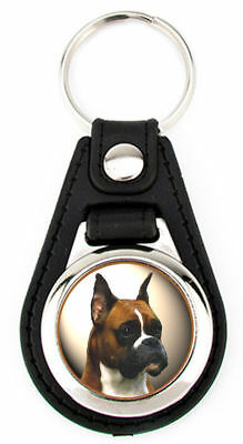 Boxer Dog Artwork Keychain Key Fob -