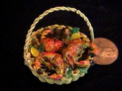 SALE Dollhouse miniature wicker  basket of crabs  IGMA Fellow Uyetake
