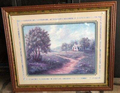 VTG HOME INTERIORS Picture Print Floral Garden & Church Pasture Linda Wacaster