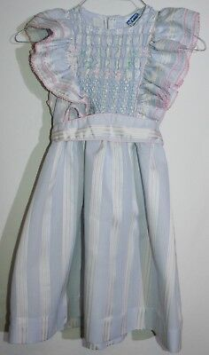 Vintage Polly Flinders smocked sleeveless dress striped size 7 EUC