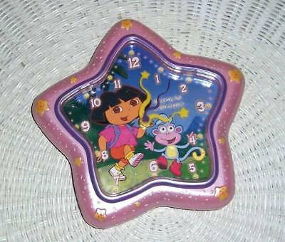 Dora Explorer & Boots Here We Go Battery-Operated Pink Star Shape Wall Clock