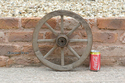 Vintage old wooden cart wagon wheel  / 35 cm - FREE DELIVERY