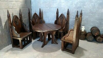 Medieval Gothic Tudor Hand Carved Round Table, Chairs Artist Dollhouse Miniature