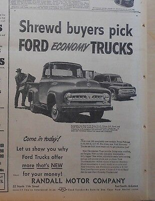 1953 newspaper ad for Ford - Shrewd buyers pick Ford F-100 Pickup, panel truck,