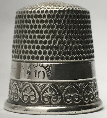 Sterling 2 Band Thimble -  Band of Palmettes in Arches - Size10 - Unknown Maker