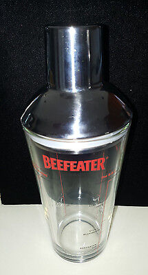 "BEEFEATER LONDON 8-1/2"" Cocktail Martini Glass Shaker with Chrome Lid and Cap"
