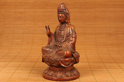 chinese old Boxwood Hand cARVED bUDDHA Kwan-yin Statue Figure blessing gift