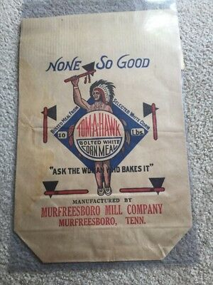 Vintage 10 Lb Bag Tom-A-Hawk Corn Meal Murfreesboro Mill Co Tennessee Tenn TN