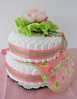 BIBSTER Baby Girl Gift: 65 Diapers~3 Bibs~3 Peonies~Cake Plate~Shampoo~Lotion