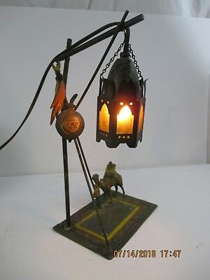 Antique Orientalist Style Cold Painted Mixed Metals Lamp - Franz Bergman Style