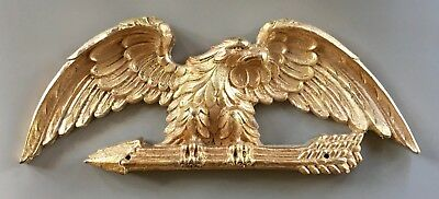 Gilded Spread Wing American Eagle Holding Three Arrows Patriotic Federal Plaque