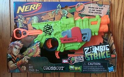 Nerf Zombie Strike Crosscut 4x Elite Dart Double-Barrel Blaster with Saw Blade