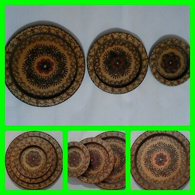 Vintage Authentic Three Round Wooden Engraved Wall Hanging Decoration