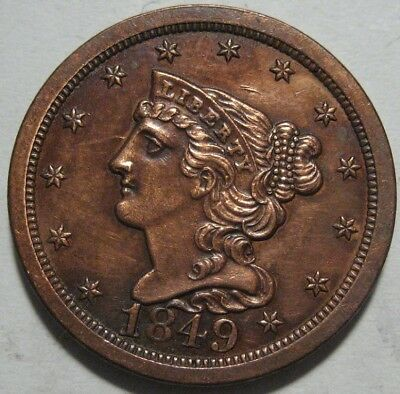 = 1849 AU/BU Half Cent, Low Mintage 39K Nice Details & EYE Appeal, FREE Shipping