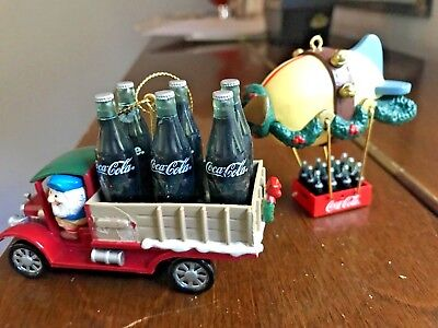 COCACOLA BLIMP Coke Miniature & Truck with Coke bottles ornaments set of 2