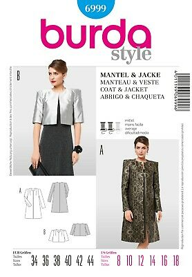 Burda Style Pattern 6999 | Misses Coat & Jacket | Size 10 - 22 | Uncut