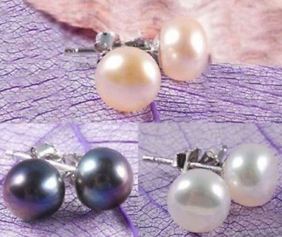 Wholesale 3Color Genuine Natural Akoya Cultured Pearl Silver Stud Earrings AAA+