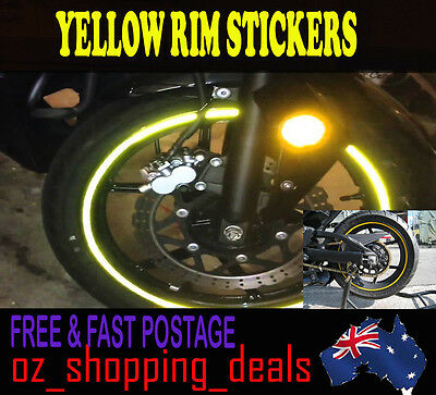 New RIM stickers Yellow Reflective Tape 6mm Motorcycle Motorbike Car