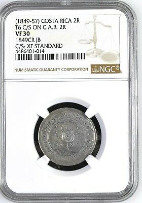 Costa Rica: 2 Reales (1849-57), NGC VF30, T6 C/S on Central American 1849 JB