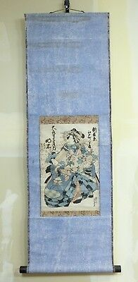 """E099: Japanese hanging scroll of a old wood-block print """"Oiran"""" by Eisen Keisai"""