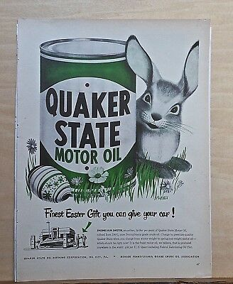 1949 magazine ad for Quaker State Oil - Happy Rabbit, art by Pertchik, Easter ad