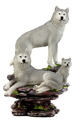 "Large Timber Wolf Family Statue 14.25""H Wildlife Animal Wolf Pack Wolves Decor"