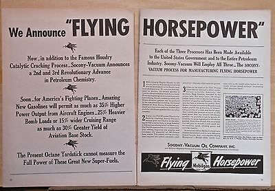 1943 two page magazine ad for Mobil - Flying Horsepower, gas for WW2 war effort