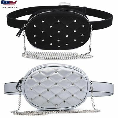 Diamond Leather Velvet Waist Fanny Pack Silver Black Quilted Chain Shoulder Bag