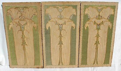 3 Large Antique Embroidered Panels Embroidery Panel Silk Wool On Linen Art Deco