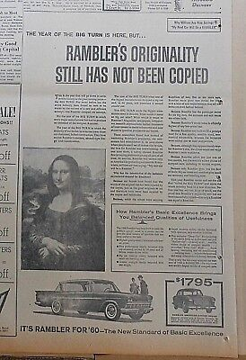 1959 newspaper ad for Rambler - Originality Still Has Not Been Copied, Mona Lisa