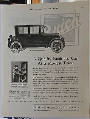 Vintage 1923 magazine ad for Buick - Quality Business Car at a Modest Price