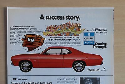 1971 half page magazine ad for Plymouth - red 1971 Duster, A Success Story