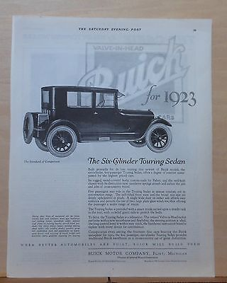 1922 magazine ad for Buick - 1923 Six Cylinder Touring Sedan, for deluxe touring
